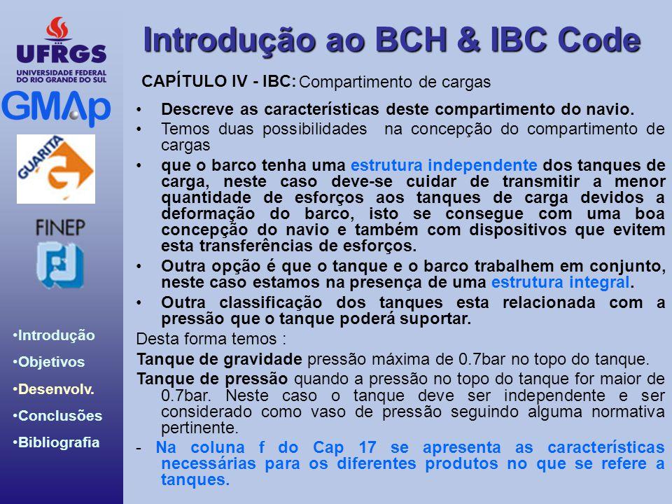 Introdução ao BCH & IBC Code Introdução Objetivos Desenvolv. Conclusões Bibliografia Compartimento de cargas Descreve as características deste compart