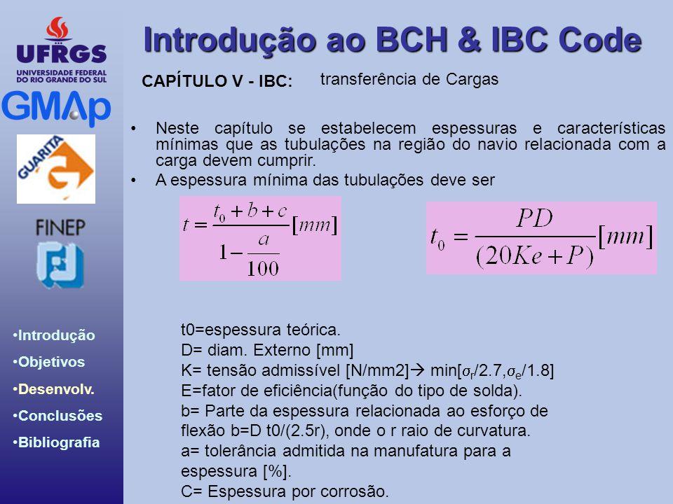 Introdução ao BCH & IBC Code Introdução Objetivos Desenvolv. Conclusões Bibliografia transferência de Cargas Neste capítulo se estabelecem espessuras