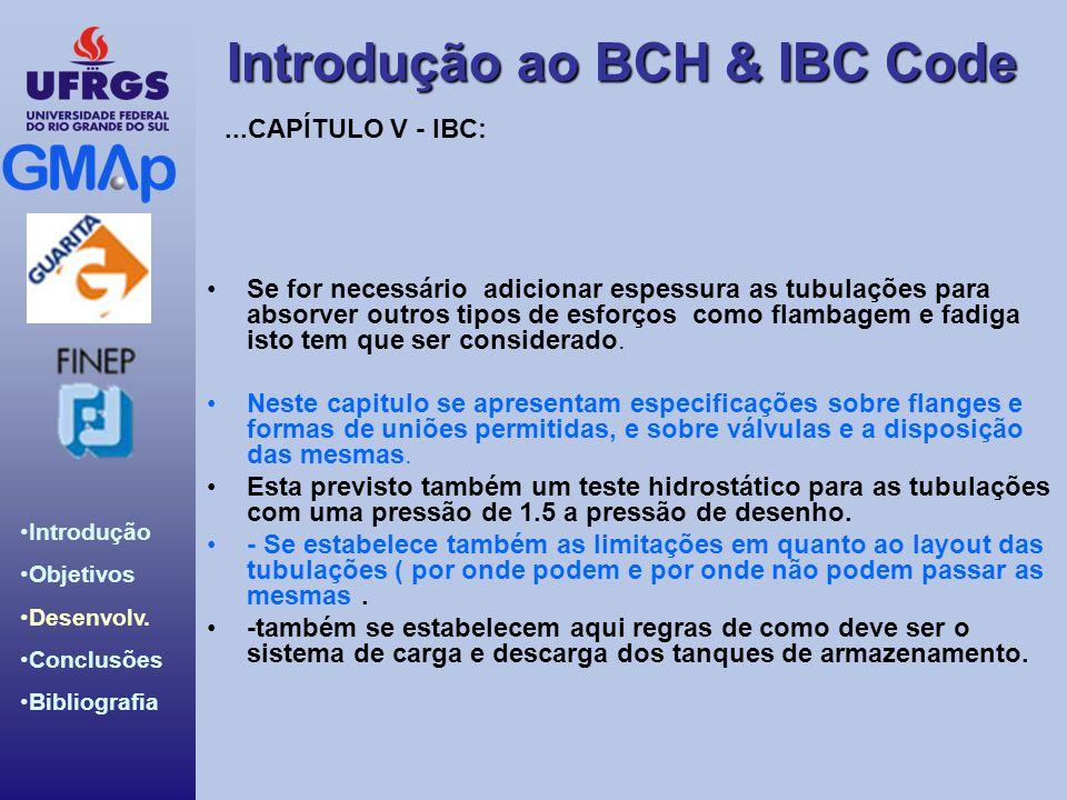 Introdução ao BCH & IBC Code Introdução Objetivos Desenvolv. Conclusões Bibliografia Se for necessário adicionar espessura as tubulações para absorver