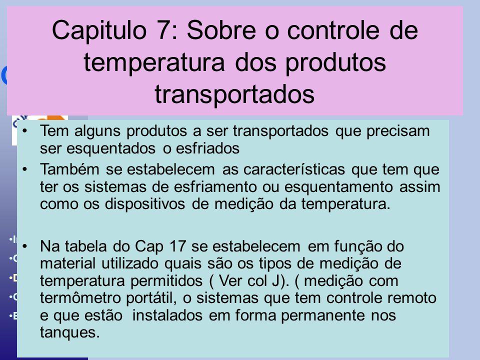 Introdução ao BCH & IBC Code Introdução Objetivos Desenvolv. Conclusões Bibliografia Capitulo 7: Sobre o controle de temperatura dos produtos transpor