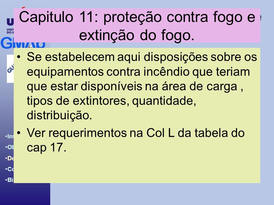 Introdução ao BCH & IBC Code Introdução Objetivos Desenvolv. Conclusões Bibliografia Capitulo 11: proteção contra fogo e extinção do fogo. Se estabele