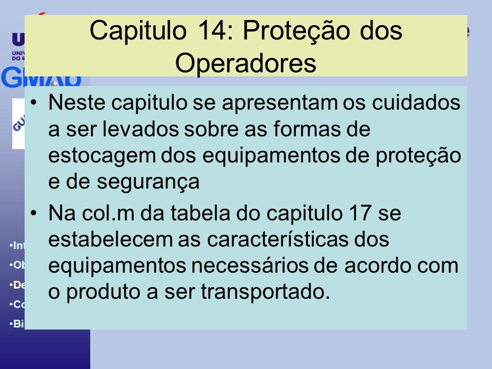 Introdução ao BCH & IBC Code Introdução Objetivos Desenvolv. Conclusões Bibliografia Capitulo 14: Proteção dos Operadores Neste capitulo se apresentam