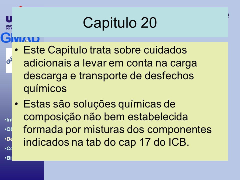 Introdução ao BCH & IBC Code Introdução Objetivos Desenvolv. Conclusões Bibliografia Capitulo 20 Este Capitulo trata sobre cuidados adicionais a levar