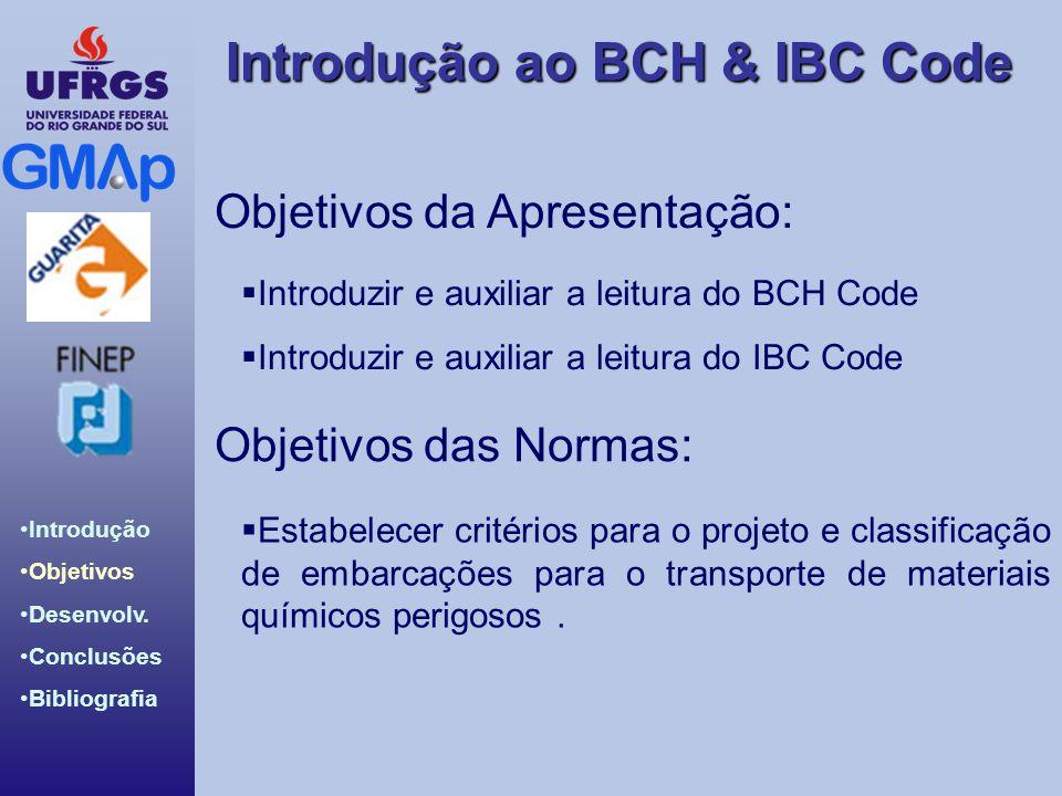 Introdução ao BCH & IBC Code Introdução Objetivos Desenvolv. Conclusões Bibliografia Objetivos da Apresentação:  Introduzir e auxiliar a leitura do B