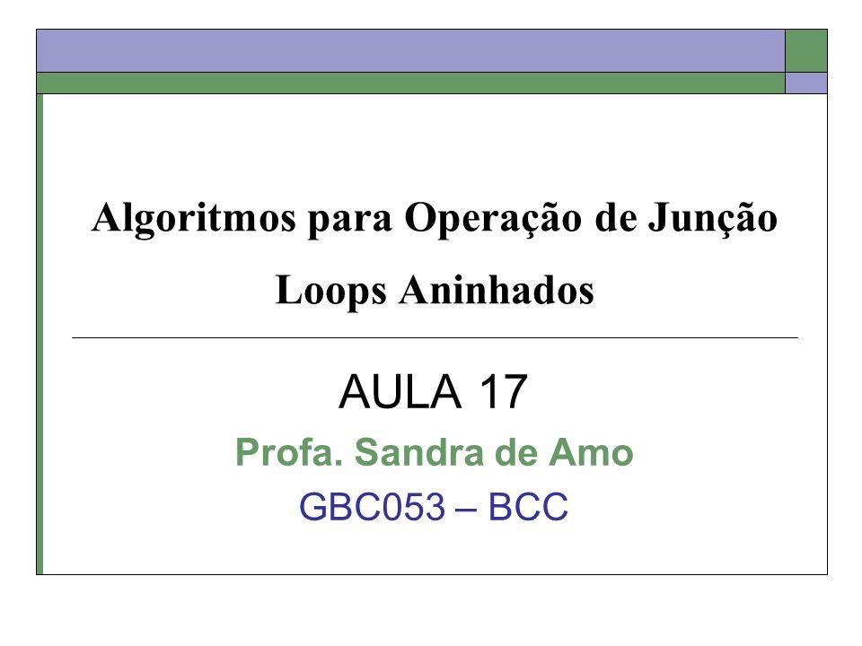 Algoritmos para Operação de Junção Loops Aninhados AULA 17 Profa. Sandra de Amo GBC053 – BCC
