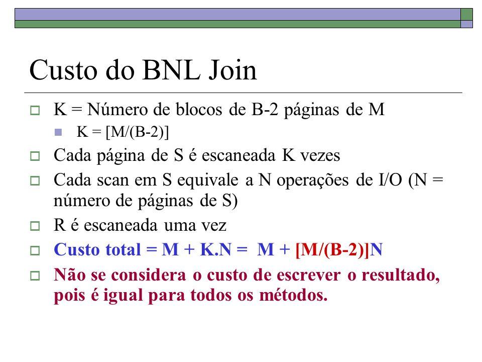 Custo do BNL Join  K = Número de blocos de B-2 páginas de M K = [M/(B-2)]  Cada página de S é escaneada K vezes  Cada scan em S equivale a N operaç