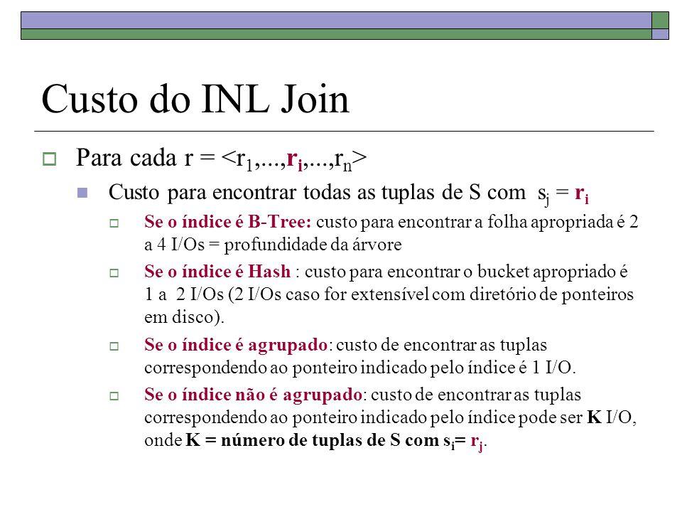 Custo do INL Join  Para cada r = Custo para encontrar todas as tuplas de S com s j = r i  Se o índice é B-Tree: custo para encontrar a folha apropri