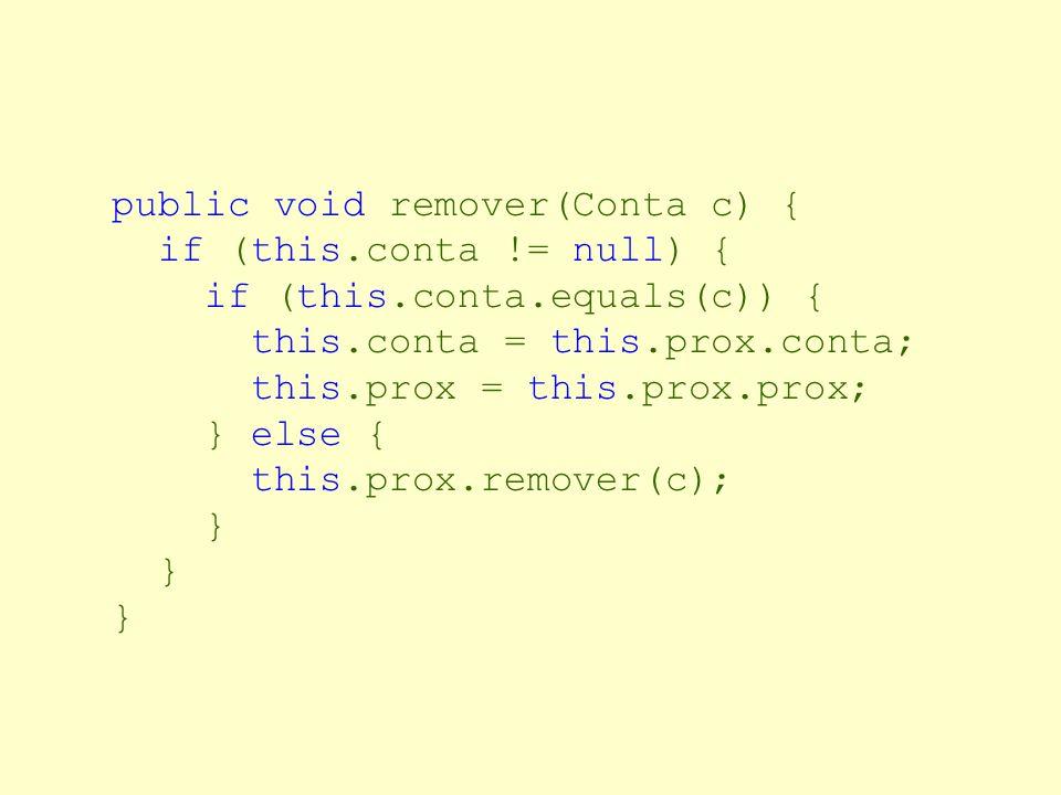 Listas de Contas: Descrição public class ListaContas { private Conta conta; private ListaContas prox; public void inserir (Conta c) { if (this.conta =