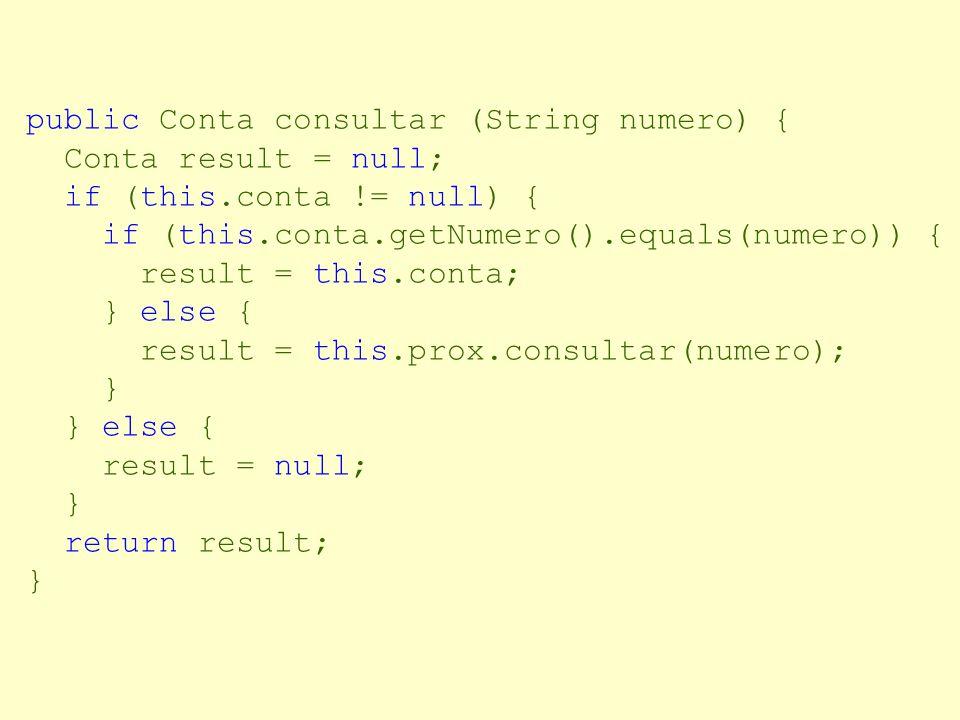 public void remover(Conta c) { if (this.conta != null) { if (this.conta.equals(c)) { this.conta = this.prox.conta; this.prox = this.prox.prox; } else