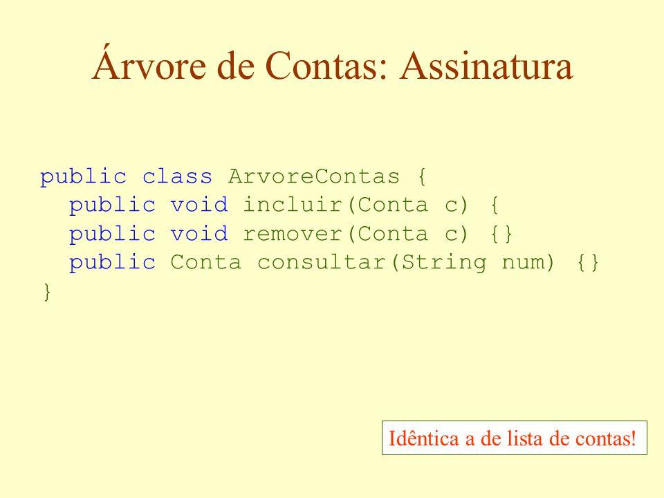 Árvore de Busca Binária id=10 null... id=8id=12 id=15 id=13 id=16 Para uma árvore de contas, estes objetos são as contas e os identificadores são os n