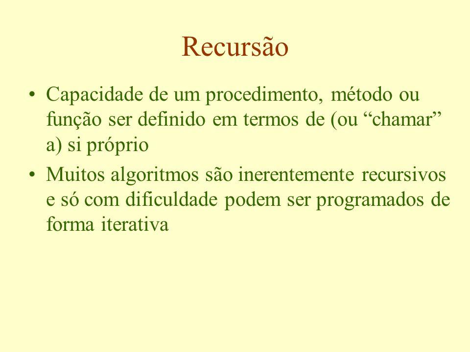 Recursão Capacidade de um procedimento, método ou função ser definido em termos de (ou chamar a) si próprio Muitos algoritmos são inerentemente recursivos e só com dificuldade podem ser programados de forma iterativa