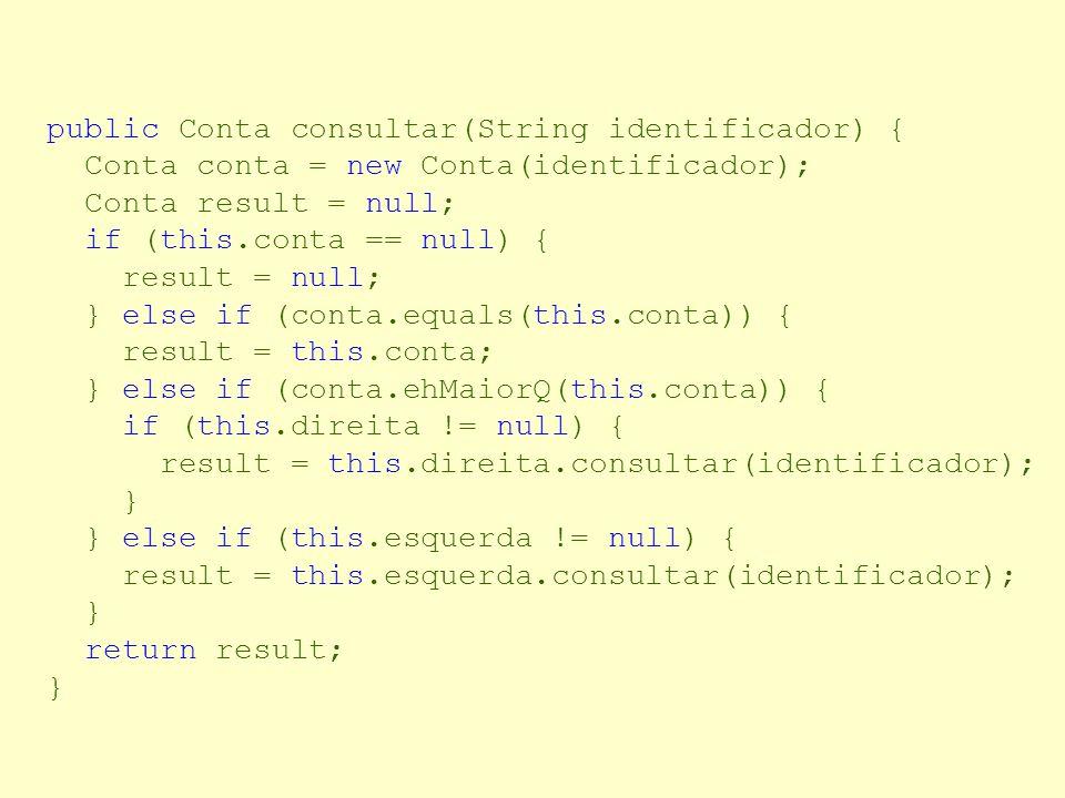 Consultando uma conta Compara um identificador com o identificador do objeto conta. – Se os valores forem iguais, o objeto foi encontrado – Se o valor