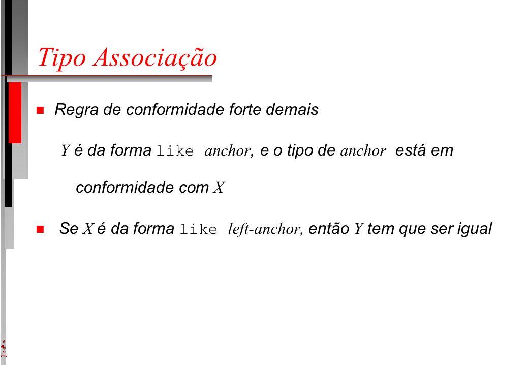 DI UFPE Tipo Associação n Regra de conformidade forte demais Y é da forma like anchor, e o tipo de anchor está em conformidade com X Se X é da forma l