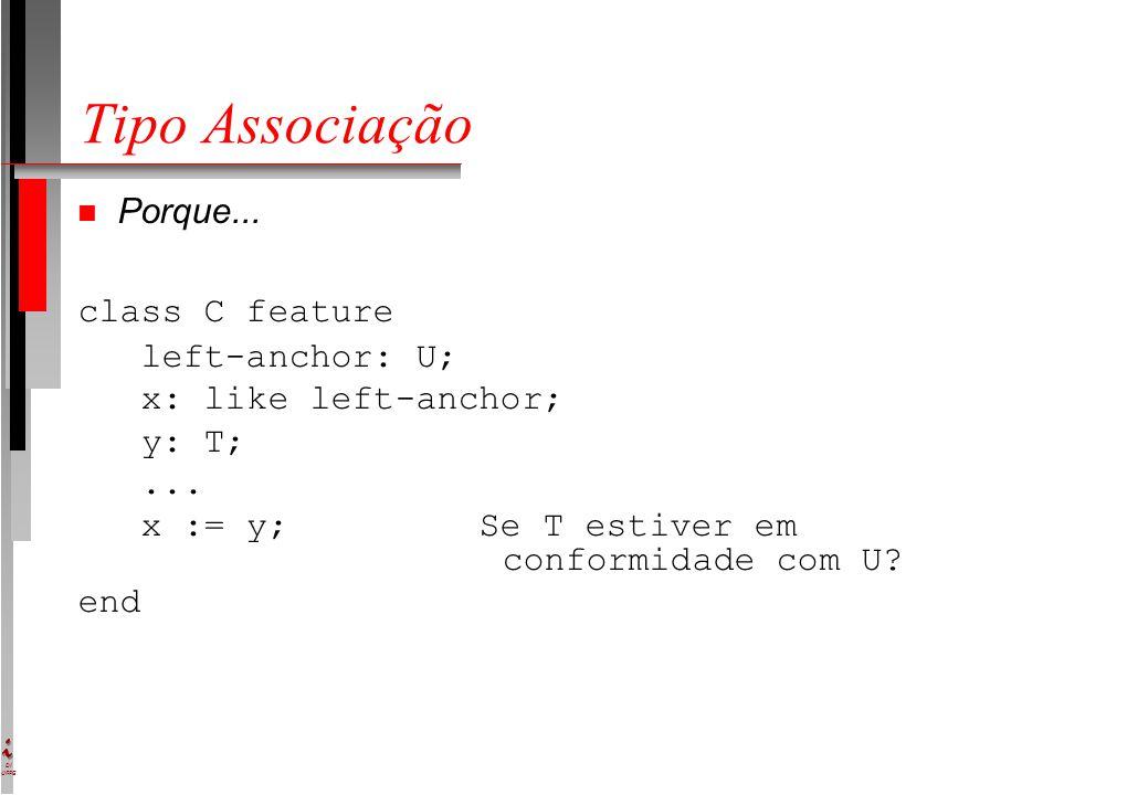DI UFPE Tipo Associação n Porque... class C feature left-anchor: U; x: like left-anchor; y: T;... x := y; Se T estiver em conformidade com U? end