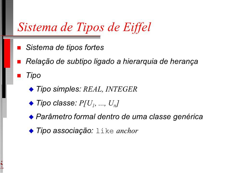 DI UFPE Sistema de Tipos de Eiffel n Sistema de tipos fortes n Relação de subtipo ligado a hierarquia de herança n Tipo  Tipo simples: REAL, INTEGER