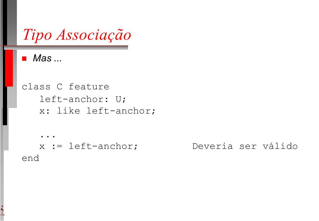 DI UFPE Tipo Associação Mas... class C feature left-anchor: U; x: like left-anchor;... x := left-anchor; Deveria ser válido end