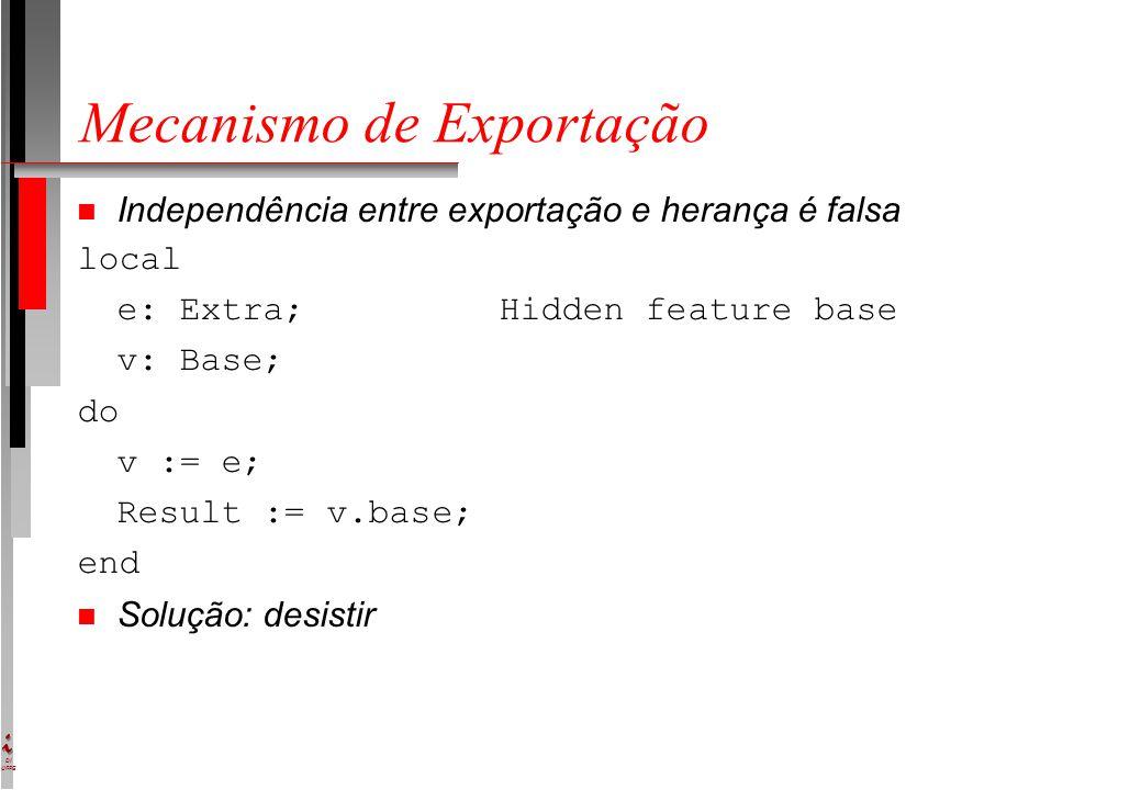 DI UFPE Mecanismo de Exportação n Independência entre exportação e herança é falsa local e: Extra;Hidden feature base v: Base; do v := e; Result := v.base; end n Solução: desistir