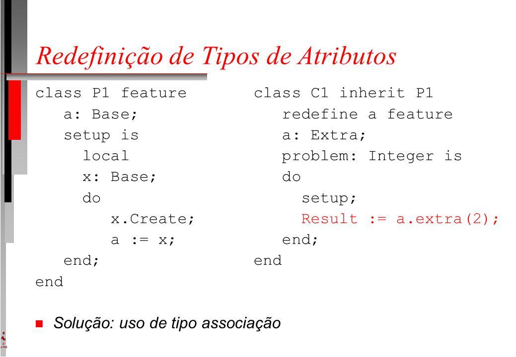 DI UFPE Redefinição de Tipos de Atributos class P1 feature class C1 inherit P1 a: Base; redefine a feature setup is a: Extra; local problem: Integer is x: Base; do do setup; x.Create; Result := a.extra(2); a := x; end; end; end end n Solução: uso de tipo associação