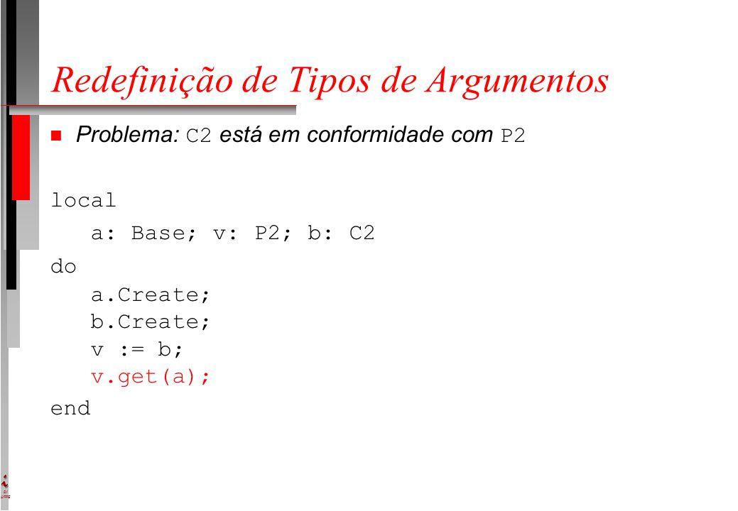 DI UFPE Redefinição de Tipos de Argumentos Problema: C2 está em conformidade com P2 local a: Base; v: P2; b: C2 do a.Create; b.Create; v := b; v.get(a); end
