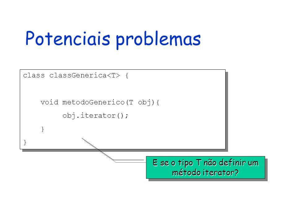 Potenciais problemas class classGenerica { void metodoGenerico(T obj){ obj.iterator(); } class classGenerica { void metodoGenerico(T obj){ obj.iterator(); } E se o tipo T não definir um método iterator?