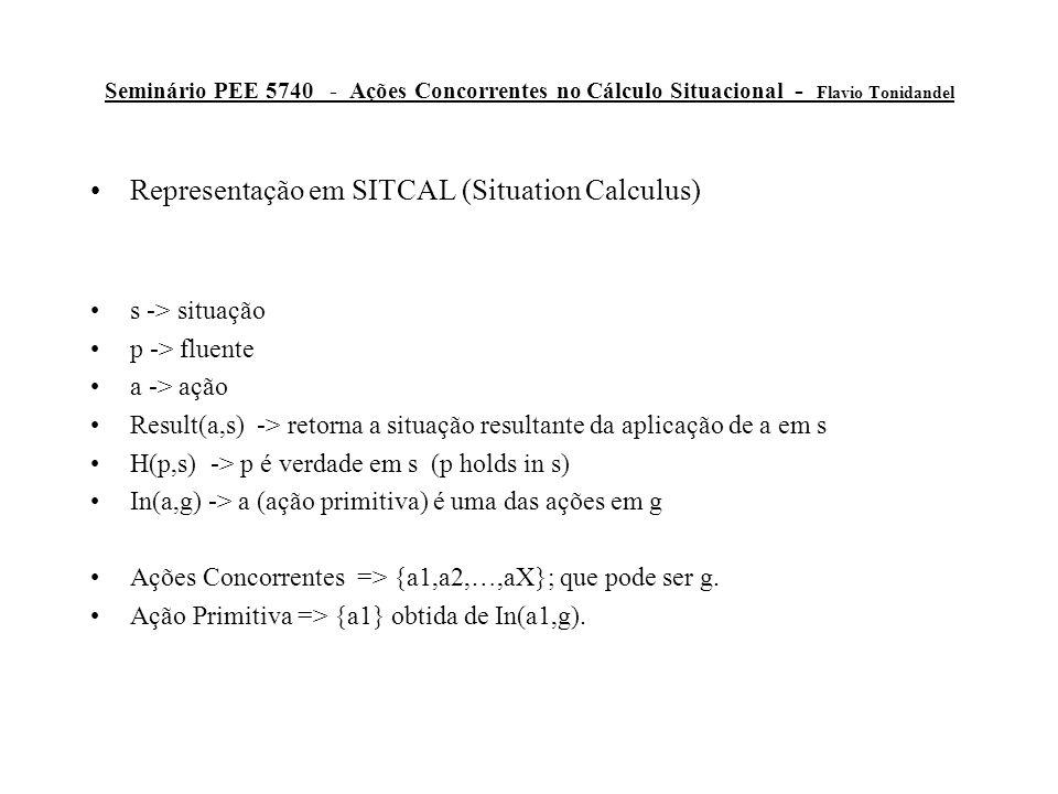 Seminário PEE 5740 - Ações Concorrentes no Cálculo Situacional - Flavio Tonidandel Representação em SITCAL (Situation Calculus) s -> situação p -> fluente a -> ação Result(a,s) -> retorna a situação resultante da aplicação de a em s H(p,s) -> p é verdade em s (p holds in s) In(a,g) -> a (ação primitiva) é uma das ações em g Ações Concorrentes => {a1,a2,…,aX}; que pode ser g.