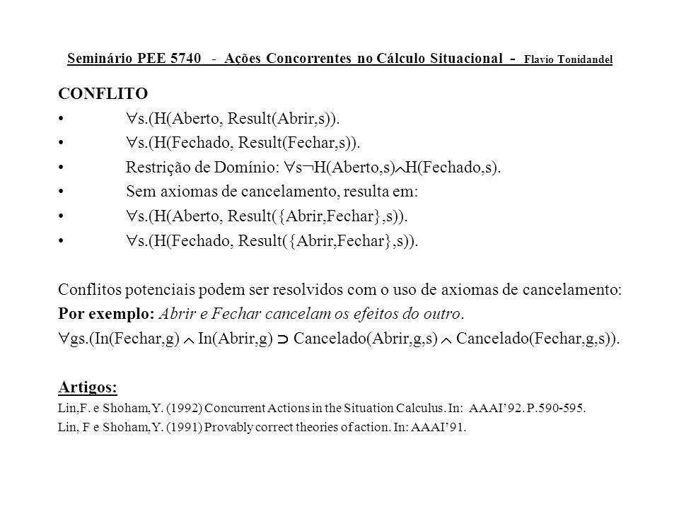 Seminário PEE 5740 - Ações Concorrentes no Cálculo Situacional - Flavio Tonidandel CONFLITO  s.(H(Aberto, Result(Abrir,s)).