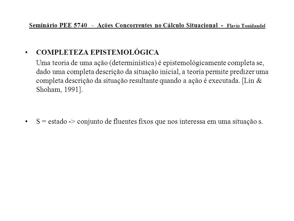 Seminário PEE 5740 - Ações Concorrentes no Cálculo Situacional - Flavio Tonidandel PROBLEMA ESTRUTURAL (FRAME PROBLEM) Uma única ação:  s.H(C(Block10,Blue), Result(Paint,s)) Completo c.r.a.
