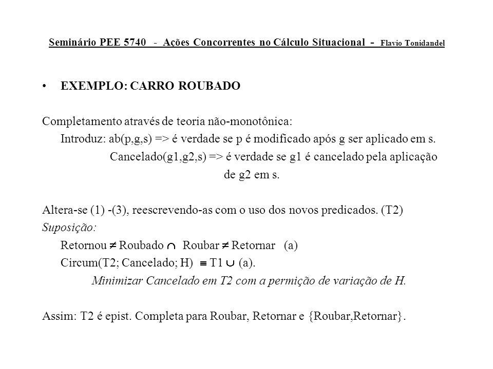 Seminário PEE 5740 - Ações Concorrentes no Cálculo Situacional - Flavio Tonidandel EXEMPLO: CARRO ROUBADO Completamento através de teoria não-monotônica: Introduz: ab(p,g,s) => é verdade se p é modificado após g ser aplicado em s.