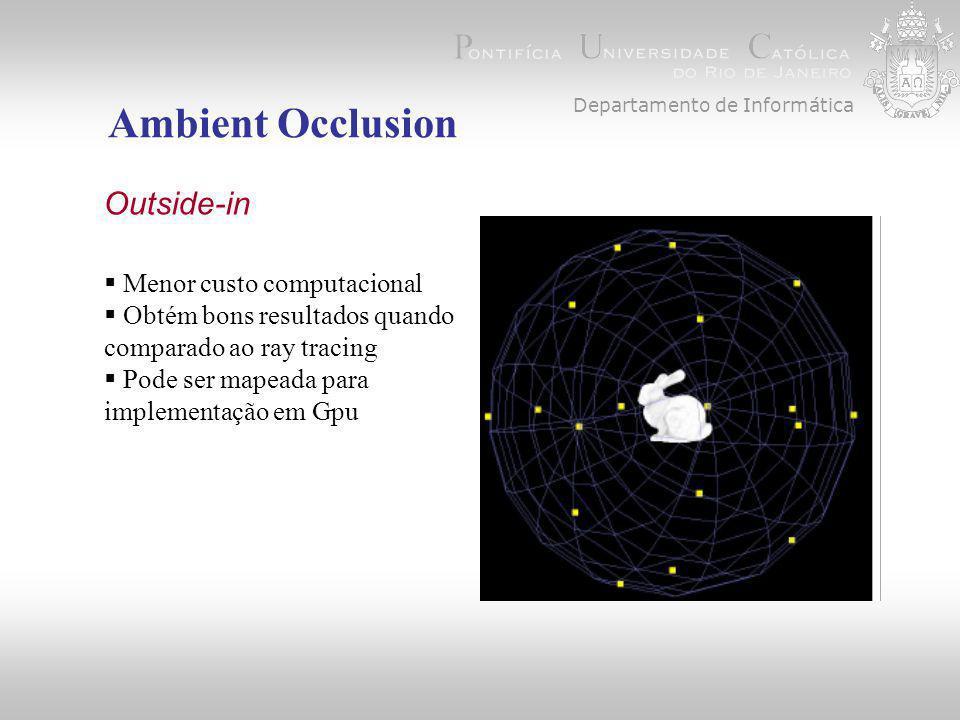 Departamento de Informática Ambient Occlusion, Outside-in  Menor custo computacional  Obtém bons resultados quando comparado ao ray tracing  Pode ser mapeada para implementação em Gpu