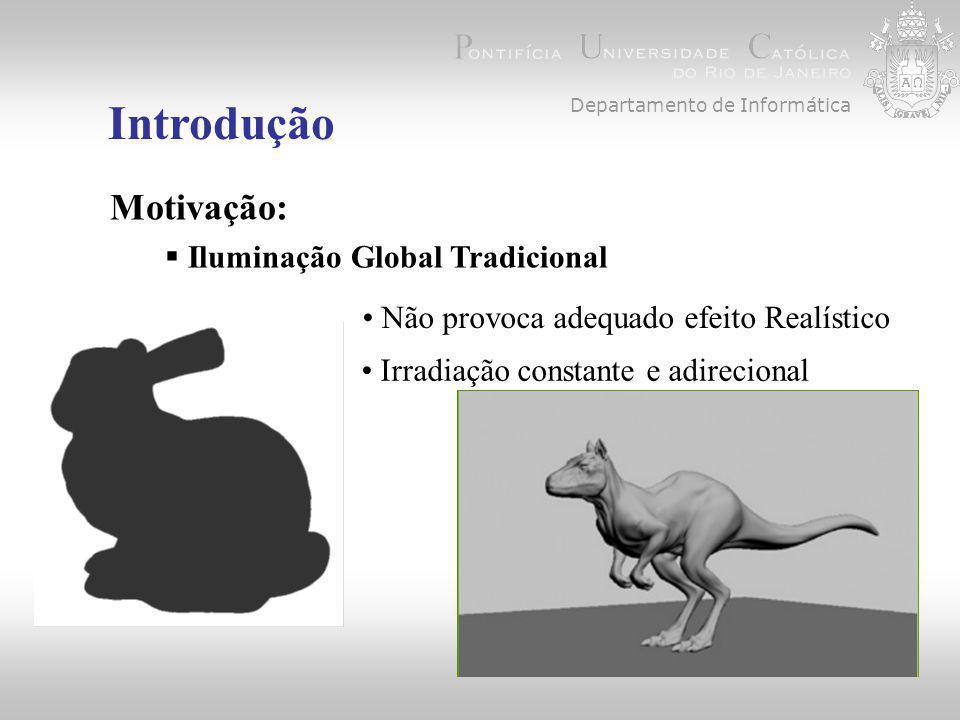 Introdução  Iluminação Global Tradicional Não provoca adequado efeito Realístico Motivação: Irradiação constante e adirecional