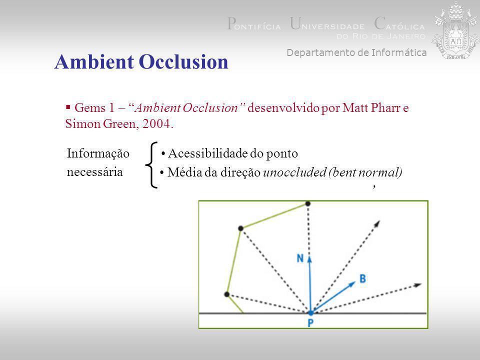 Departamento de Informática Ambient Occlusion  Gems 1 – Ambient Occlusion desenvolvido por Matt Pharr e Simon Green, 2004., Informação necessária Acessibilidade do ponto Média da direção unoccluded (bent normal)