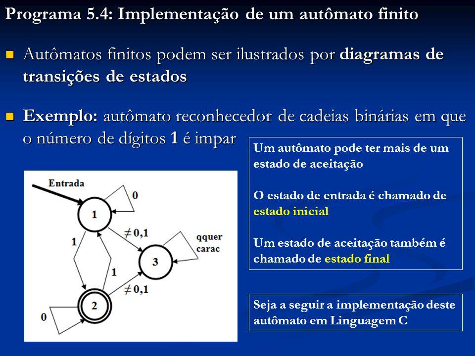 Programa 5.4: Implementação de um autômato finito Autômatos finitos podem ser ilustrados por diagramas de transições de estados Autômatos finitos pode
