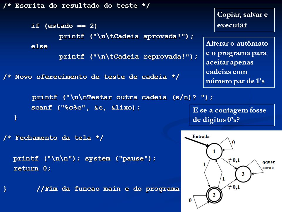 /* Escrita do resultado do teste */ if (estado == 2) if (estado == 2) printf (