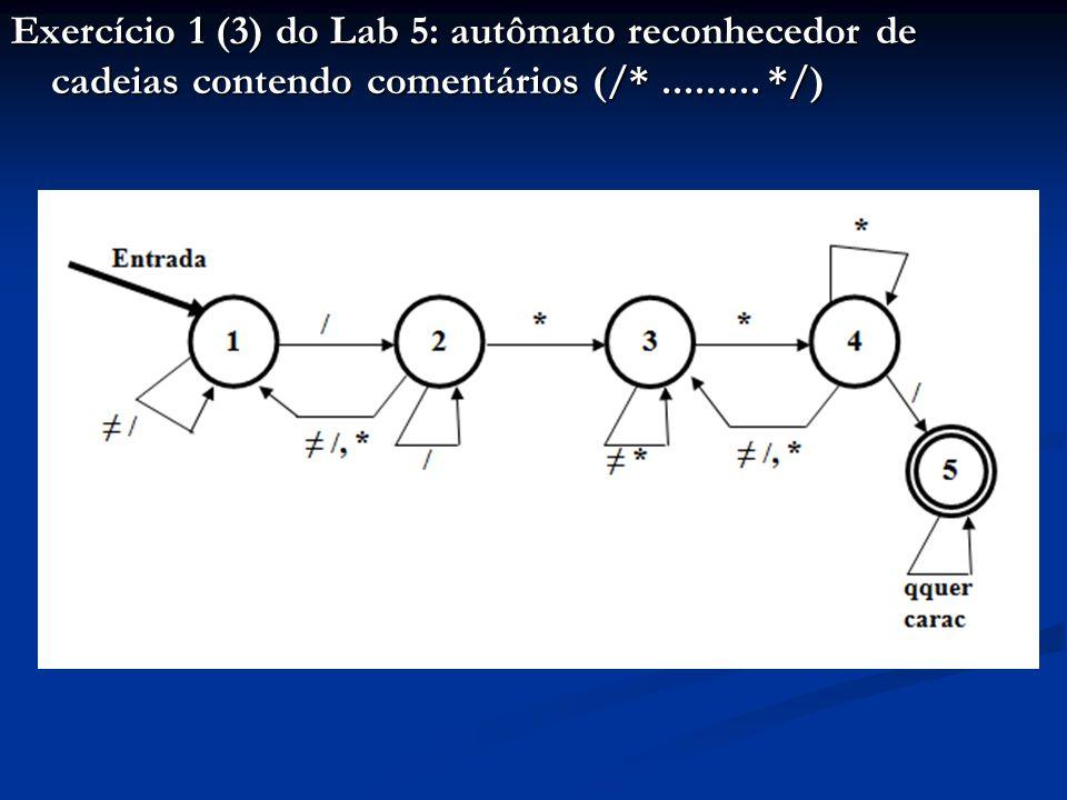 Exercício 1 (3) do Lab 5: autômato reconhecedor de cadeias contendo comentários (/*......... */)