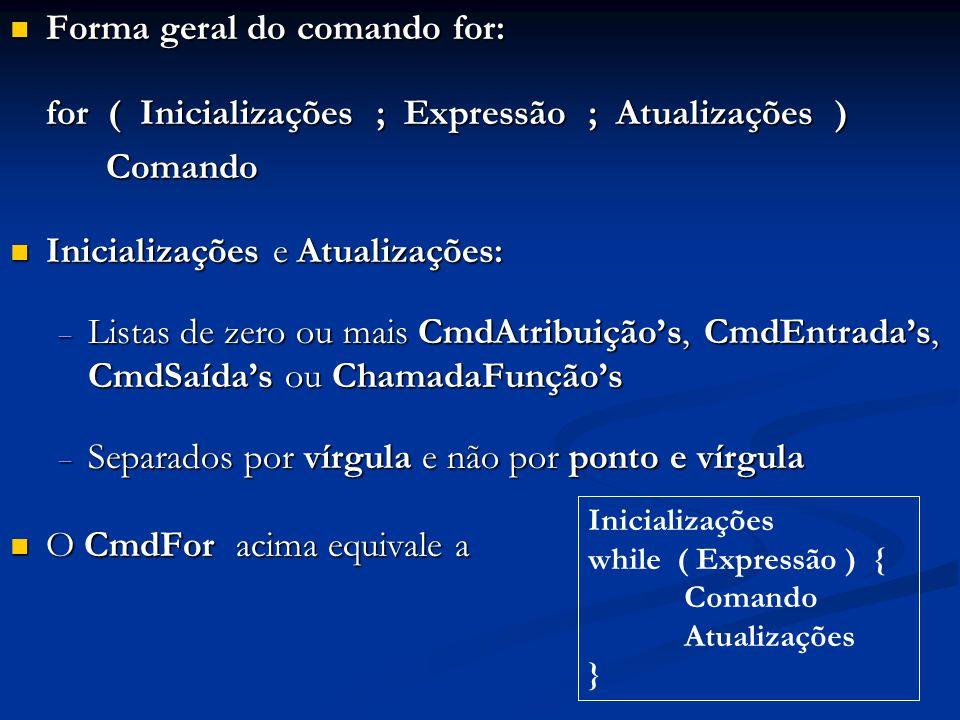 Forma geral do comando for: Forma geral do comando for: for ( Inicializações ; Expressão ; Atualizações ) Comando Inicializações e Atualizações: Inici