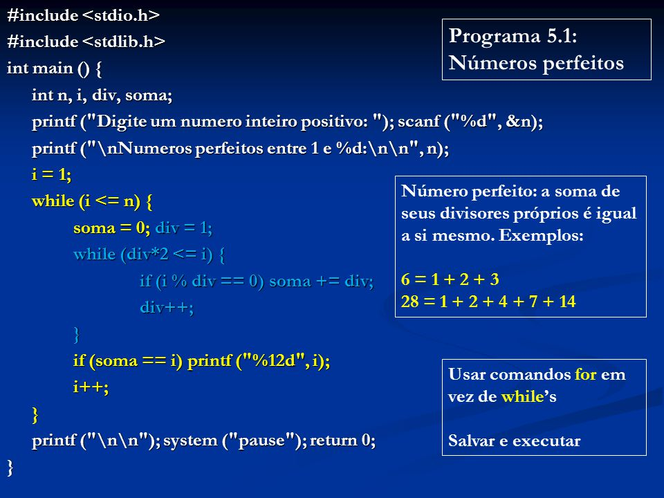 #include #include int main () { int n, i, div, soma; printf (