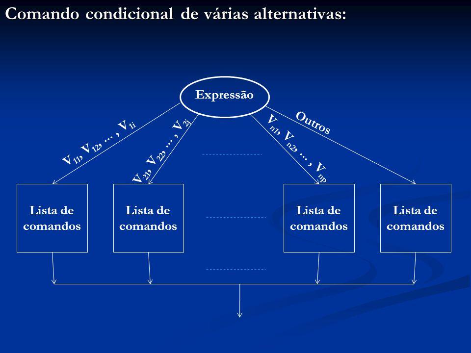 Comando condicional de várias alternativas: Expressão Lista de comandos V 11, V 12,..., V 1i V 21, V 22,..., V 2j V n1, V n2,..., V np Outros