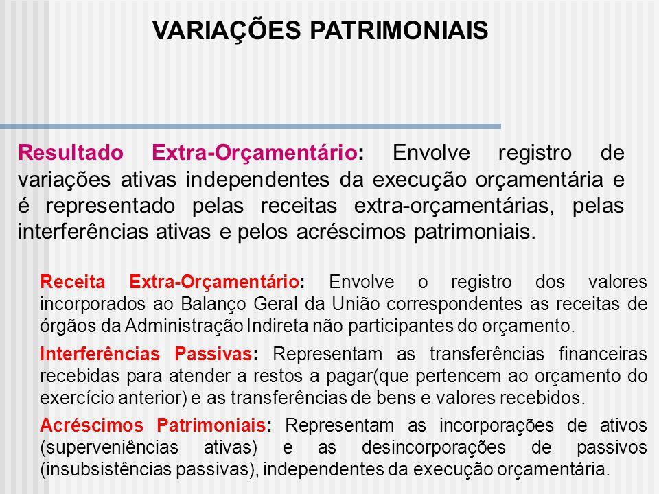 Resultado Aumentativo do Exercício: Registra as variações ativas, ou seja, as variações que aumentam o patrimônio do Órgão. Resultado Orçamentário: En
