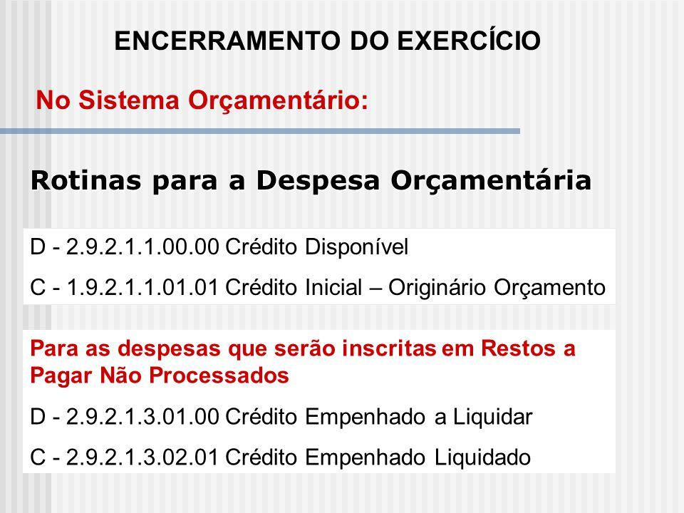 ENCERRAMENTO DO EXERCÍCIO No Sistema Orçamentário: D - 2.9.1.1.1.00.00 Previsão Inicial da receita C - 1.9.1.1.1.00.00 Receita a Realizar (pelo saldo)