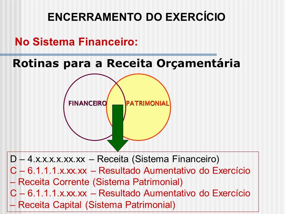 ENCERRAMENTO DO EXERCÍCIO Rotinas para a Despesa Orçamentária Para as despesas liquidadas: D - 2.9.2.1.3.02.01 Crédito Empenhado Liquidado C - 1.9.2.1