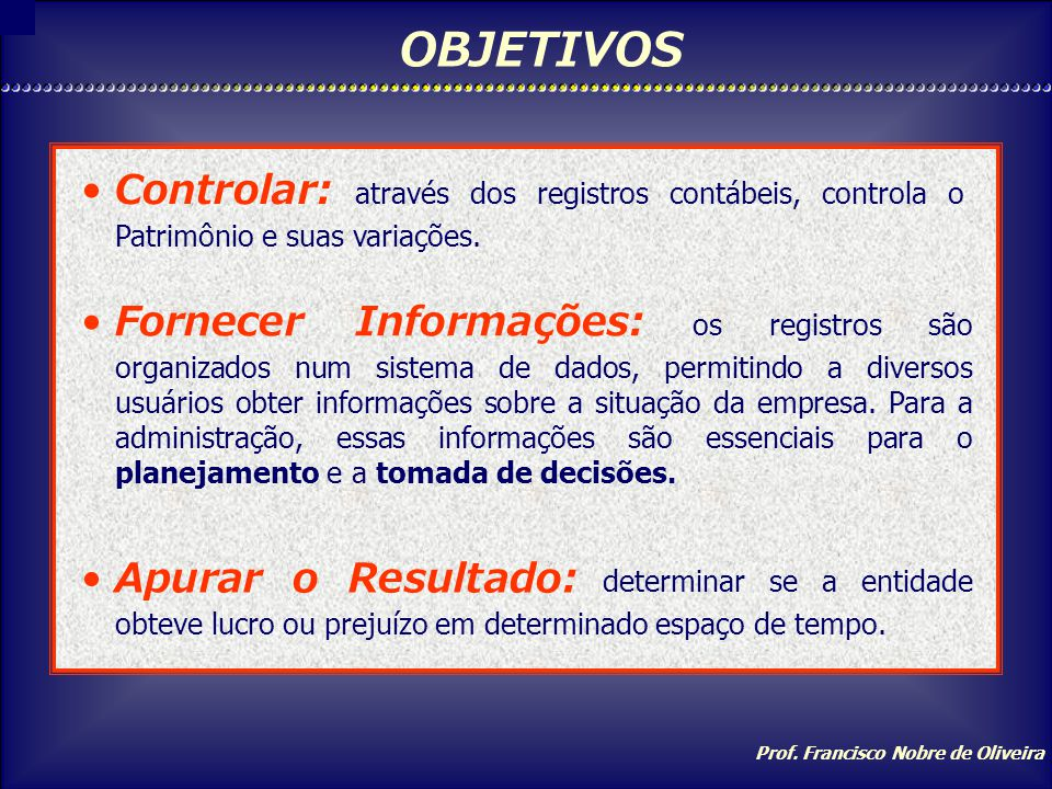 Prof. Francisco Nobre de Oliveira CAMPO DE APLICAÇÃO Empresas particulares, Empresas públicas, hospitais, comércio, indústria, escolas, governo etc.