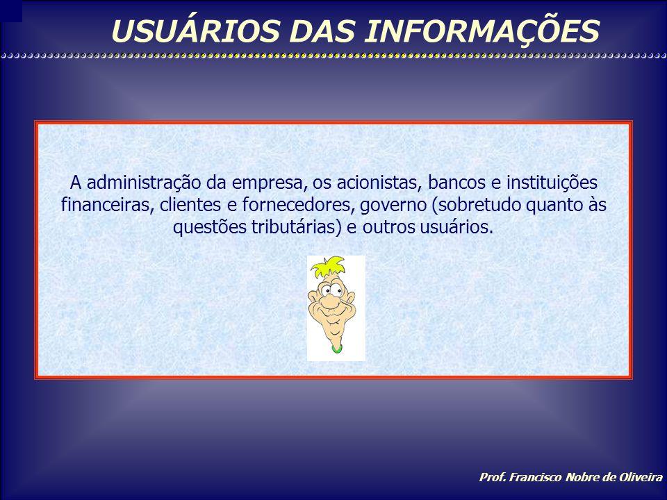 Prof. Francisco Nobre de Oliveira OBJETIVOS Controlar: através dos registros contábeis, controla o Patrimônio e suas variações. Fornecer Informações: