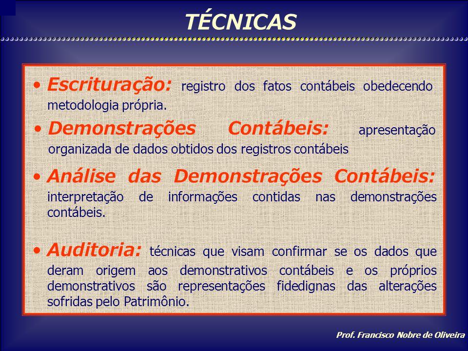 Prof. Francisco Nobre de Oliveira USUÁRIOS DAS INFORMAÇÕES A administração da empresa, os acionistas, bancos e instituições financeiras, clientes e fo