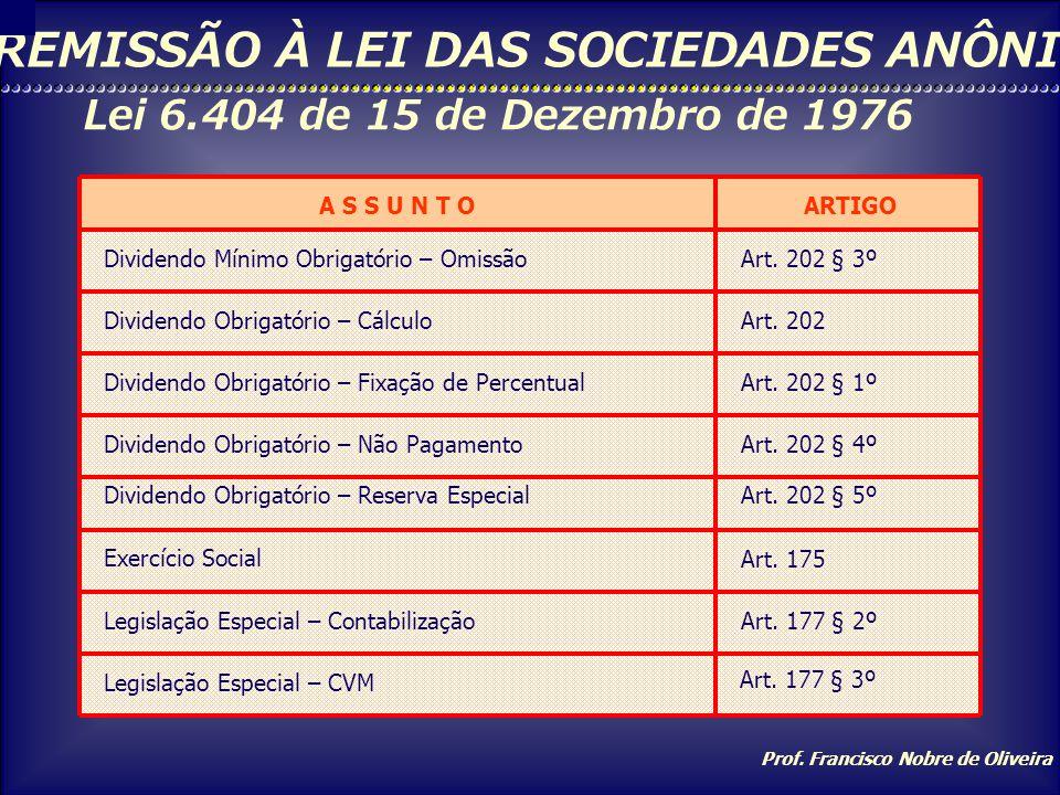 Prof. Francisco Nobre de Oliveira REMISSÃO À LEI DAS SOCIEDADES ANÔNIMAS Lei 6.404 de 15 de Dezembro de 1976 A S S U N T OARTIGO Demonstração das Muta
