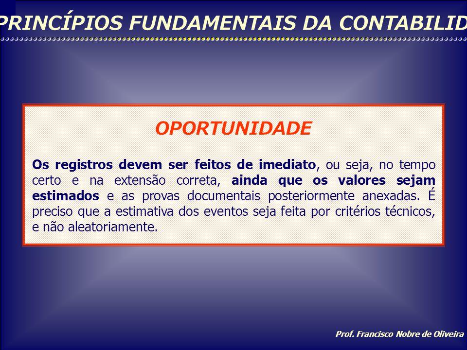 Prof. Francisco Nobre de Oliveira PRINCÍPIOS FUNDAMENTAIS DA CONTABILIDADE PRINCÍPIO DA CONTINUIDADE A continuidade ou não da entidade, bem como sua v