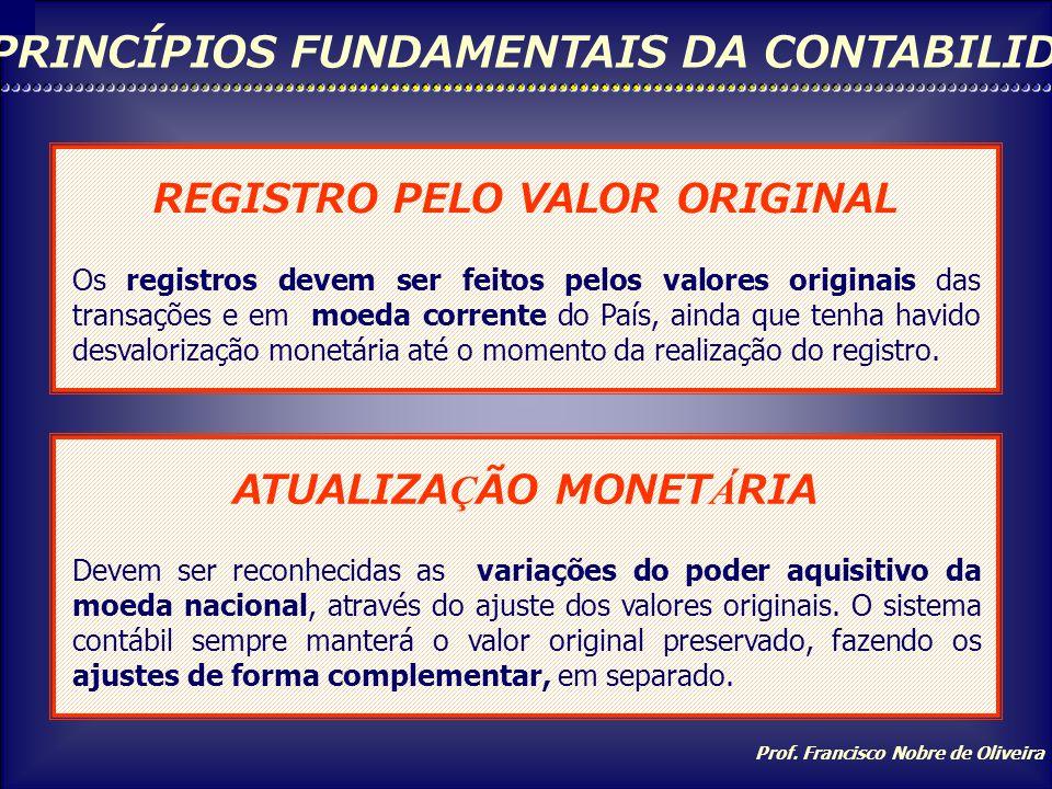 Prof. Francisco Nobre de Oliveira PRINCÍPIOS FUNDAMENTAIS DA CONTABILIDADE OPORTUNIDADE Os registros devem ser feitos de imediato, ou seja, no tempo c