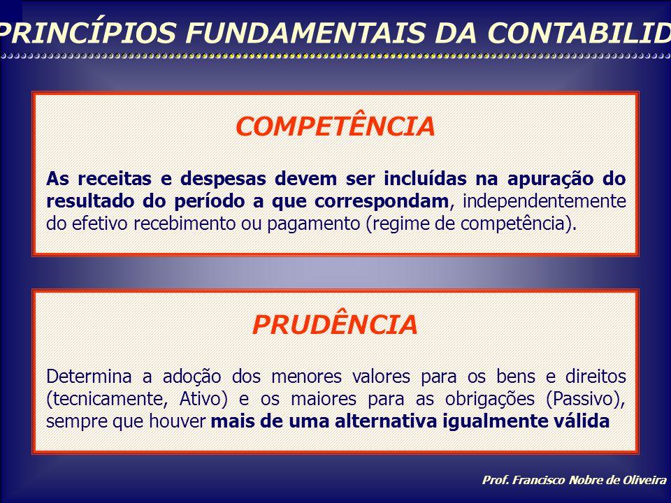 Prof. Francisco Nobre de Oliveira PRINCÍPIOS FUNDAMENTAIS DA CONTABILIDADE REGISTRO PELO VALOR ORIGINAL Os registros devem ser feitos pelos valores or