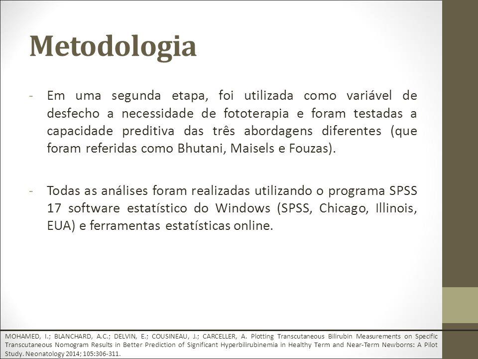Metodologia -Em uma segunda etapa, foi utilizada como variável de desfecho a necessidade de fototerapia e foram testadas a capacidade preditiva das três abordagens diferentes (que foram referidas como Bhutani, Maisels e Fouzas).