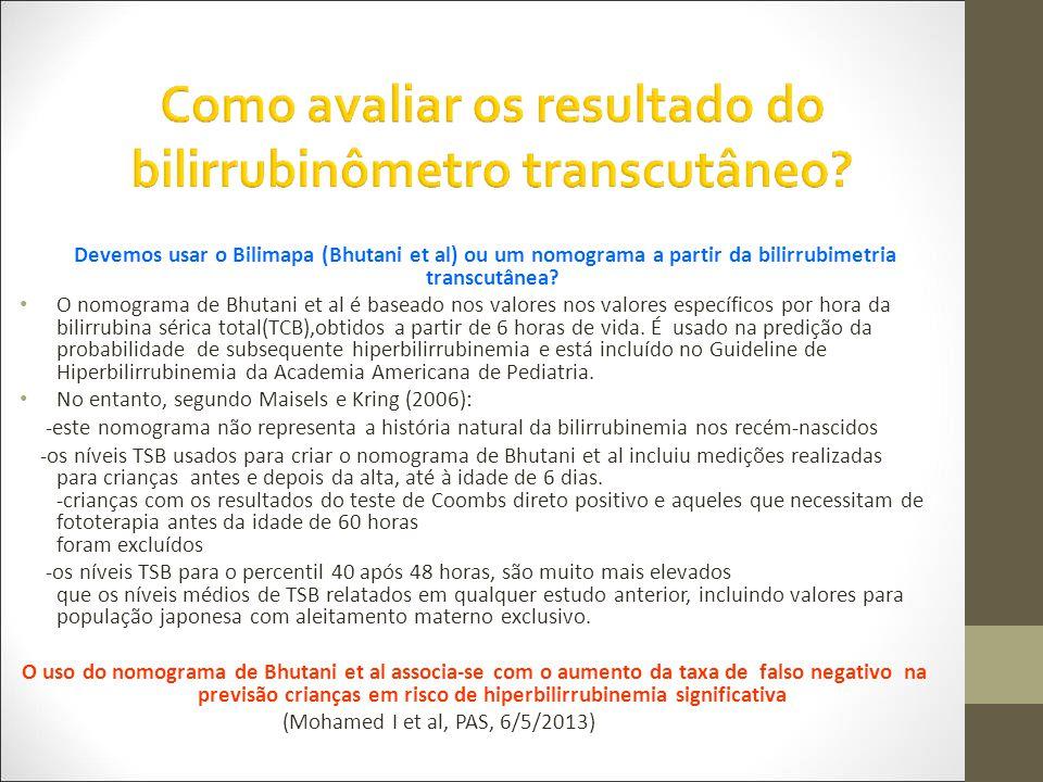 Devemos usar o Bilimapa (Bhutani et al) ou um nomograma a partir da bilirrubimetria transcutânea.