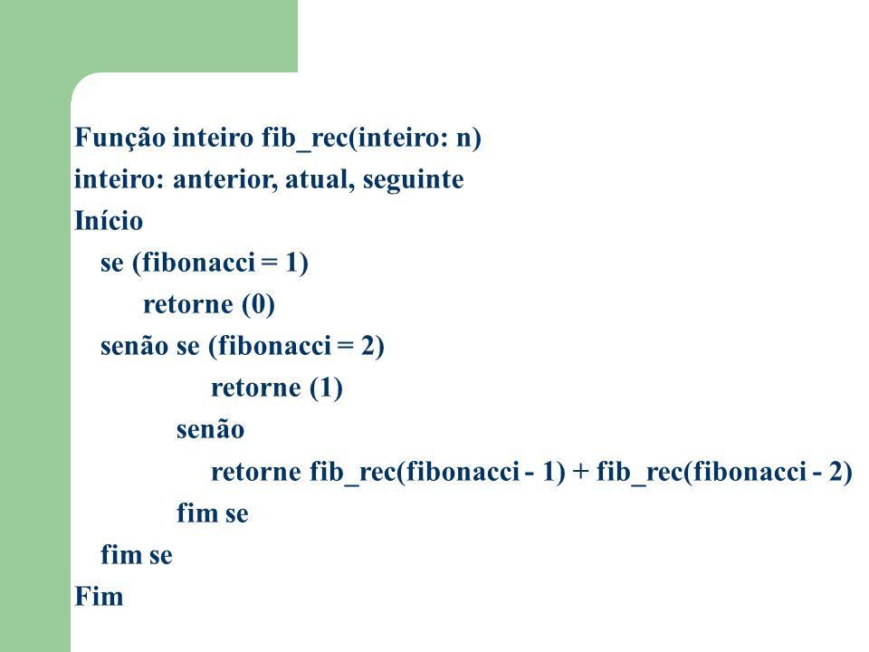 Função inteiro fib_rec(inteiro: n) inteiro: anterior, atual, seguinte Início se (fibonacci = 1) retorne (0) senão se (fibonacci = 2) retorne (1) senão